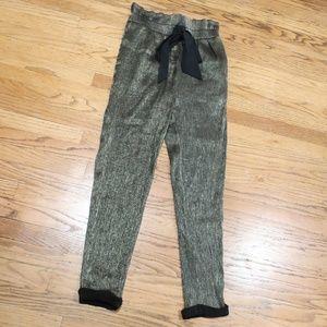 Zara Basic Gold Shimmer Harem Pants sz S